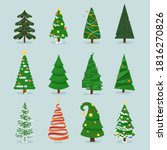 christmas tree set. isolated... | Shutterstock . vector #1816270826