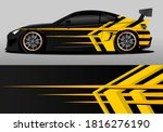 car wrap design with yellow and ... | Shutterstock .eps vector #1816276190