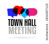 Town hall meeting on speech bubble