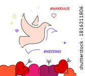 wedding doves filled line icon  ...