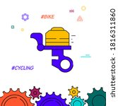 bicycle bell filled line icon ...