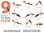 infographic 9 yoga poses for... | Shutterstock .eps vector #1816316630