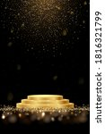 golden award round podium with... | Shutterstock .eps vector #1816321799