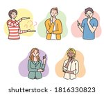 various gestures for questions... | Shutterstock .eps vector #1816330823