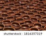 Row Of Unbaked Clay Terra Cott...
