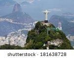 Stock photo aerial view of christ redeemer and corcovado mountain 181638728