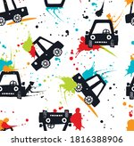 cartoon cars and splashes... | Shutterstock .eps vector #1816388906