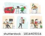 set of tired workers in office. ... | Shutterstock .eps vector #1816405016