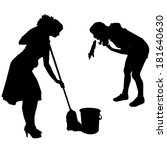 vector silhouette of a cleaning ... | Shutterstock .eps vector #181640630