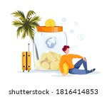 piggy bank in the form of a jar ...   Shutterstock .eps vector #1816414853