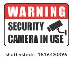 warning security camera in use... | Shutterstock .eps vector #1816430396