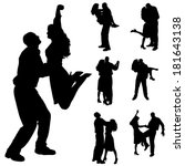 vector silhouette of people who ... | Shutterstock .eps vector #181643138