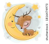 Cute Cartoon Deer Is Sleeping...