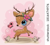 cute cartoon deer with flower... | Shutterstock .eps vector #1816474976