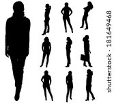vector silhouette of a woman on ... | Shutterstock .eps vector #181649468