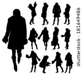 vector silhouette of a woman on ... | Shutterstock .eps vector #181649486