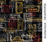 grunge city street signs... | Shutterstock .eps vector #1816494956