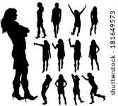 vector silhouette of a woman on ... | Shutterstock .eps vector #181649573