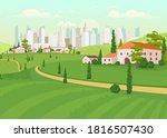 suburban area flat color vector ... | Shutterstock .eps vector #1816507430