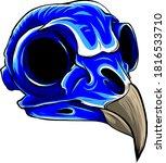 Vector Blue Bird Tattoo Skull...