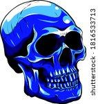 Vector Blue Tattoo Skull...