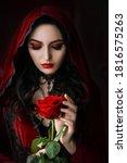 Mystical beautiful woman in a...