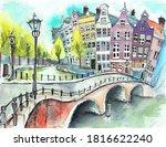 Bridge In Amsterdam Watercolor...