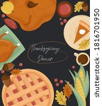 thanksgiving dinner poster with ... | Shutterstock .eps vector #1816701950
