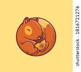 Cute Squirrel Holding Acorn Nut ...