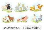 cute farm animals family flat... | Shutterstock .eps vector #1816769090