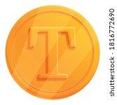 gold bonus token icon. cartoon...