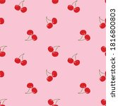 Red Cherry Pink Background...