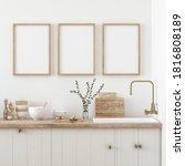 Mock Up Poster Frame In Kitchen ...