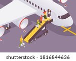 people getting to aircraft...   Shutterstock .eps vector #1816844636