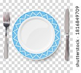 empty vector blue plate with...   Shutterstock .eps vector #1816849709