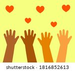 the hands of various people are ... | Shutterstock .eps vector #1816852613