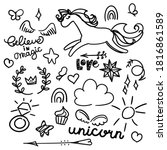 large doodle set with unicorn ... | Shutterstock .eps vector #1816861589