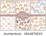 set of seamless patterns with...   Shutterstock .eps vector #1816870010