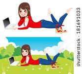 beautiful brunette woman lying... | Shutterstock .eps vector #181691033