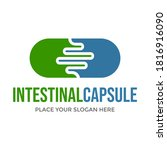 intestinal capsule vector logo... | Shutterstock .eps vector #1816916090
