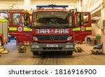 Fire Engine With Open Doors In...