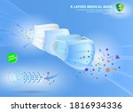 set of four layer surgical mask ... | Shutterstock .eps vector #1816934336