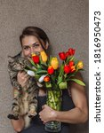 Russian Girl With A Cat And A...