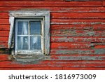 White Weathered Window On A Red ...