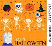 halloween card with dansing... | Shutterstock .eps vector #1816974089