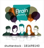 brainstorming with group of... | Shutterstock .eps vector #181698140