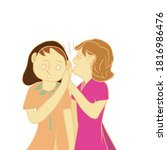 two girls or women gossip or...   Shutterstock . vector #1816986476