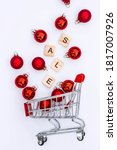 Grocery basket with red...