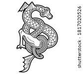 winged dragon. illustration in...   Shutterstock .eps vector #1817020526