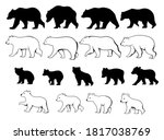 set of moms and baby bears.... | Shutterstock .eps vector #1817038769